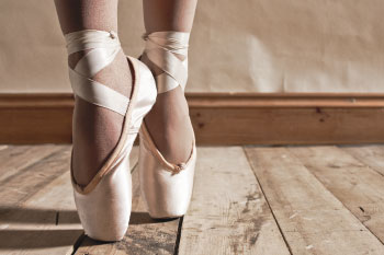 ballet shoes pose