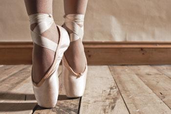 ballet shoes pose