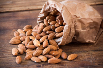 almonds in a bag for healthy snack