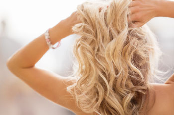 blonde thick hair woman
