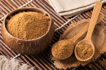 coconut sugar in a coconut