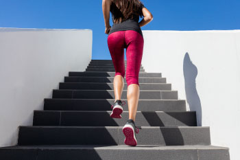HIIT running up stairs outside