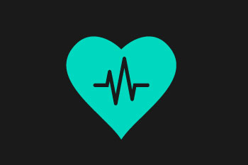 blue heart rate on grey background