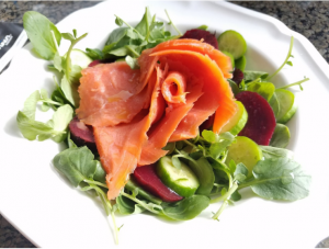 Rosa Selvaje smoked salmon salad summer recipe
