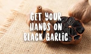 Black garlic on canvas cloth