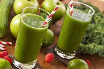 green juice boost energy wood table