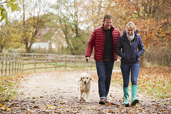 adult couple walking dog weight loss tips aging