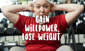 overweight woman exercise gain willpower brain weight loss