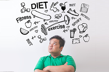 young man thinking about diet healthy lifestyle avoid weight loss mistakes