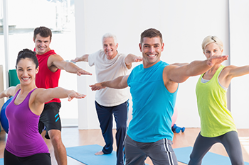 group people aerobics exercise together workout