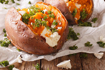 baked sweet potatoes high protein vitamins healthy snack to go
