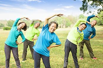 asian senior friends exercise live longer