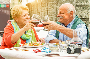 senior couple drink wine live longer blue zone