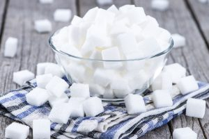 sugar cubes on blue and white towel