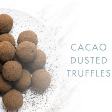 cacao truffles on white plate