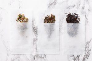 tea bags on marble table