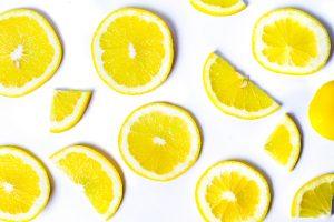 sliced lemon on white background