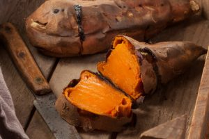 baked sweet potato cut in half