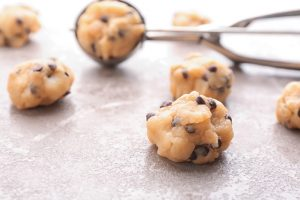 cookie dough balls with scooper