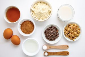 ingredients to make cacao walnut muffins