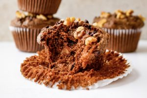 cacao walnut muffin bitten into