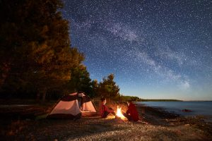 camping by the ocean and under the stars